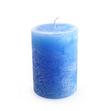One new blue candle. Isolated on white background Stock Image