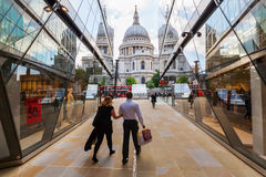 One New Change near St Pauls Cathedral in London, UK. London, UK - June 15, 2016: One New Change mall with unidentified people. It is located near St Pauls Stock Photos