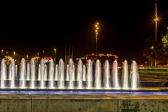 Modern fountain in Zagreb. One of 4 new fountains in park in Zagreb. Small park in new part of Zagreb, that is located between two roads Royalty Free Stock Photo