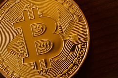 One new golden physical bitcoin is lies on dark wooden backgound, close up. High resolution photo. Cryptocurrency mining concep. T Royalty Free Stock Photography