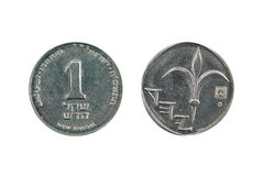 One new Israeli shekel front and back Royalty Free Stock Images
