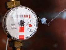 One new mechanical hot water meter Stock Image