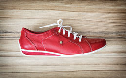One new red women's leather shoe, beauty and fashion Stock Image