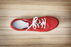 One new red women's leather shoe, beauty and fashion Royalty Free Stock Photos