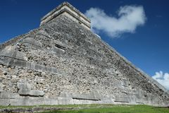 Close view of the side wall of El Castillo Pyramid at Chichen Itza archaeological site, stock photos