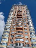 One new urban high building, red brick, satellite Stock Photos