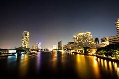 Mountain. One night on Bangkok ,Thailand The river Chaophaya have be nice night Royalty Free Stock Image