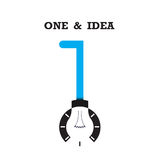 One number icon and light bulb abstract logo design vector templ Stock Images
