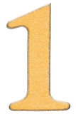 1, one, numeral of wood combined with yellow insert, isolated on Royalty Free Stock Photos