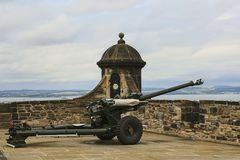One o`clock cannon at Edinburgh castle, Scotland royalty free stock photo