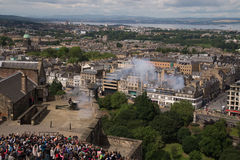 The One O'Clock Gun being fired at Edinburgh Castle, Scotland Stock Images