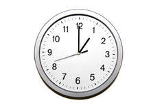 One o`clock. Wall clock isolated on white and signing the one o clock hour - part of 12 hours series Stock Photo