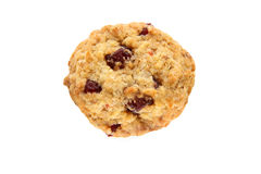 One oaten cookie. With cherry on the white background Royalty Free Stock Photos