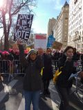 Voter Registration, Women`s March, NYC, NY, USA royalty free stock photography