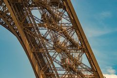 Free One Of The Eiffel Tower Metal Structure Legs Showing The Numerous Stairs. Royalty Free Stock Photos - 107689128