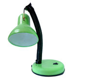 One old broken green table lamp in isolated Stock Photo