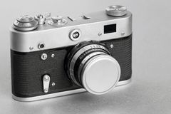One old camera closeup of monochrome tone Royalty Free Stock Photography