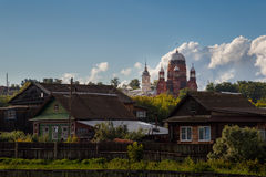 One old church over Russian village against a beautiful sky Royalty Free Stock Photo