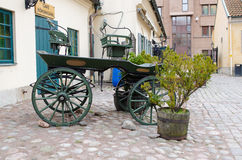 One old horse wagon standing outside Royalty Free Stock Photo