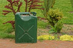 An old iron green canister stands on the sidewalk of ornamental vegetation and grass. One old iron green canister stands on the sidewalk of ornamental vegetation royalty free stock image