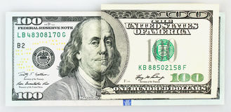 One old and new parts of hundred dollar banknote Royalty Free Stock Photography