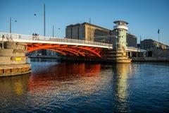 Old bridge Knippels bridge in Copenhagen habor. Denmark stock image