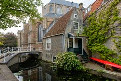 One of the oldest houses in the center of Delft, the Netherlands royalty free stock photography