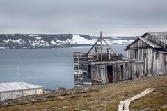 One of oldest polar stations in Arctic. Franz Josef Land. Severe land. One of the oldest polar stations in Arctic founded in 1928, now abandoned. Wooden houses stock images