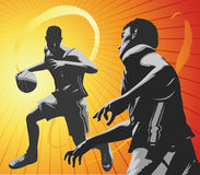 One on One II. Two basket ball players on a one on one contest. Part of my sports series stock illustration