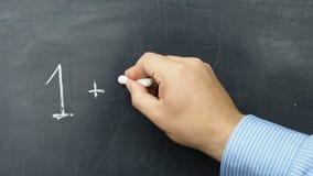 One and one make two handwritten blackboard chalkboard stock video