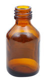One open brown glass oval pharmacy bottle Royalty Free Stock Photos