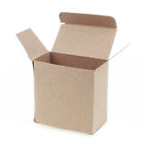 One open brown paper box isolated on white Stock Image