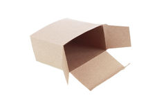 One open brown paper box isolated on white Stock Photos