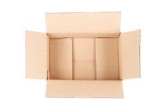 one open corrugated cardboard box on white Stock Photos