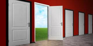 Free One Open Door Among Closed Ones. Concept Of Choice Stock Photography - 184404272
