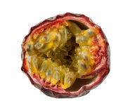 One open passion fruit isolated on white Royalty Free Stock Photography