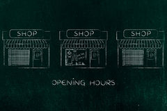 One open shop surrounded by others already closed Royalty Free Stock Photos