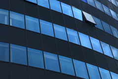 One open window on modern facade. One open window on the rounded modern facade royalty free stock photography