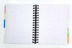 One opened notebook. With spiral on white Royalty Free Stock Images