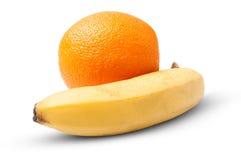 One orange and banana Stock Photography
