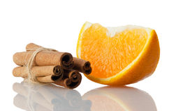 One orange fruit segment Stock Images