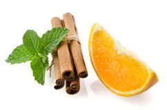 One orange fruit segment Stock Photos