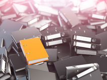 One orange office binder and pile of black others.. Archive. File searching concept. 3d illustration Royalty Free Stock Image