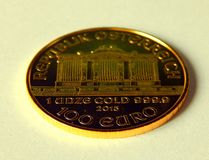 One Ounce of wiener philharmoniker. One ounce of Fine Gold, Wiener philharmoniker coin stock images