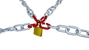 One Padlock Locks Four Metallic Chains with Four Red Stressed Links with Zoom Effect in Infinite Rotation stock video footage