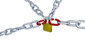 One Padlock Locks Four Metallic Chains with Two Red Stressed Links with Zoom Effect in Infinite Rotation stock footage