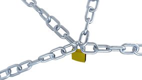 One Padlock Locks Four Metallic Chains with Zoom Effect in Infinite Rotation stock video footage