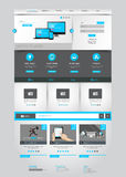 One page business website template - home page design - clean and simple - vector illustration Stock Photo