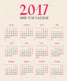 One page calendar 2017 with lettering months. vector illustration