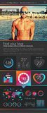 One page dating website flat UI design template. Stock Photo